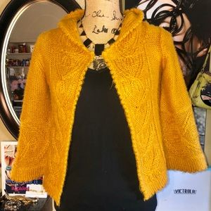 Derek Heart Mustard Knit Bell Sleeve Hooded Cape